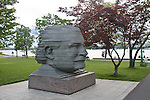 Sculpture of head of symphony conductor Arthur Fiedler, Charles River, Boston, MA