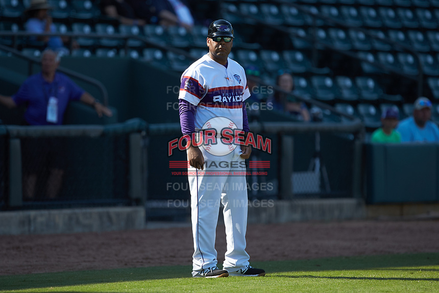 Winston-Salem Dash hitting coach Jaime Dismuke (33) coaches third base during the game against the Lynchburg Hillcats at BB&T Ballpark on June 23, 2019 in Winston-Salem, North Carolina. The Hillcats defeated the Rayados 12-9 in 11 innings. (Brian Westerholt/Four Seam Images)