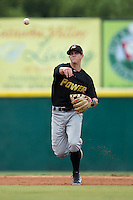 West Virginia Power shortstop Kevin Newman (5) makes a throw to first base against the Hickory Crawdads at L.P. Frans Stadium on August 15, 2015 in Hickory, North Carolina.  The Power defeated the Crawdads 9-0.  (Brian Westerholt/Four Seam Images)