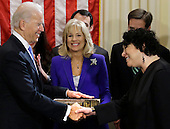 United States Vice President Joe Biden, with his wife Jill Biden, center, holding the Biden Family Bible, shakes hands with Supreme Court Justice Sonia Sotomayor after taking the oath of office during an official ceremony at the Naval Observatory, Sunday, Jan. 20, 2013, in Washington. .Credit: Carolyn Kaster / Pool via CNP