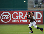 "Rightfielder Oswaldo Arcia makes the catch during the Reno Aces ""Star Wars Night"" game at Greater Nevada Field in Reno on Saturday, June 17, 2017."