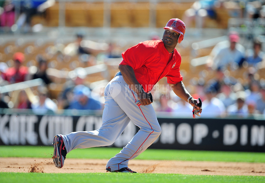 Mar. 14, 2012; Phoenix, AZ, USA; Anaheim Angels base runner Torii Hunter runs the bases in the fifth inning against the Chicago White Sox at The Ballpark at Camelback Ranch. Mandatory Credit: Mark J. Rebilas-