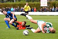 GRONINGEN - Voetbal, FC Groningen O23 - ACV, derde divisie, seizoen 2017-2018, 16-09-2017, /go50 wordt onderuitgehaald voor ACV doelman Bert Woering en ACV speler Dennis Hoekstra en krijgt strafschop