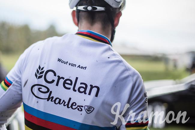 World Champion Wout Van Aert (BEL/Crelan-Charles) pre race.  <br /> <br /> cx Telenet Superprestige Gieten 2017 (NED)