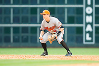 Sam Houston State Bearkats shortstop Corey Toups #6 on defense against the Texas Christian Horned Frogs at Minute Maid Park on February 28, 2014 in Houston, Texas.  The Bearkats defeated the Horned Frogs 9-4.  (Brian Westerholt/Four Seam Images)