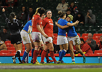 Italy&rsquo;s Beatrice Rigoni celebrates scoring her sides third try with team-mate Sofia Stefan<br /> <br /> Photographer Ian Cook/CameraSport<br /> <br /> 2018 Women's Six Nations Championships Round 4 - Wales Women v Italy Women - Sunday 11th March 2018 - Principality Stadium - Cardiff<br /> <br /> World Copyright &copy; 2018 CameraSport. All rights reserved. 43 Linden Ave. Countesthorpe. Leicester. England. LE8 5PG - Tel: +44 (0) 116 277 4147 - admin@camerasport.com - www.camerasport.com