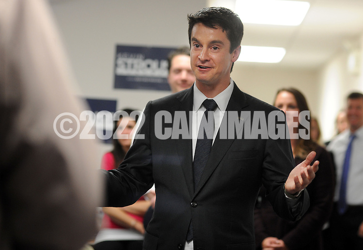 BRISTOL, PA - NOVEMBER 4: Democratic candidate Kevin Strouse makes remarks to supporters after conceding to incumbent Republican Mike Fitzpatrick in the 8th district congressional race November 4, 2014 in Bristol, Pennsylvania.  (Photo by William Thomas Cain/Cain Images)