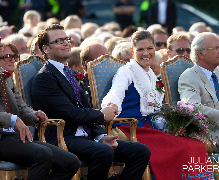 Crown Princess Victoria of Sweden celebrates her 32nd Birthday at a concert in Borgholm, on the Island of Oland in Sweden..Accompanied by her fiance Daniel Westling, and King Carl Gustaf, and Queen Silvia of Sweden, Prince Carl Phillip, and Princess Madeleine of Sweden
