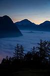 See of fog, Nebelmeer, Masescha, Triesenberg, Rheintal, Rhine-valley, Liechtenstein.