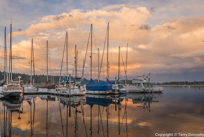 Vashon Island, Washington:<br /> Sunset clouds reflecting on Quartermaster Harbor