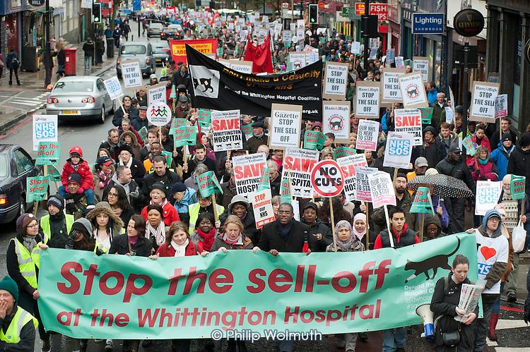 Save Whittington Hospital Campaign march and rally, Islington, London.