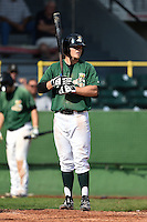 Clinton LumberKings designated hitter Justin Seager (17) at bat during a game against the Beloit Snappers on August 17, 2014 at Ashford University Field in Clinton, Iowa.  Clinton defeated Beloit 4-3.  (Mike Janes/Four Seam Images)