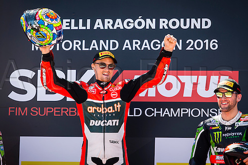 02.04.2016. Motorland, Aragon, Spain. World Championship Motul FIM of Superbikes. Chaz Davies #7, Ducati 1199 Panigale R rider of Superbike on podium after the race  in the World Championship Motul FIM of Superbikes from the Circuito de Motorland.