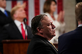 FEBRUARY 5, 2019 - WASHINGTON, DC: Secretary of State Mike Pompeo during the State of the Union at the Capitol in Washington, DC on February 5, 2019.<br /> Credit: Doug Mills / Pool, via CNP