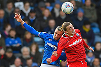 Tom Eaves of Gillingham and Christian Burgess of Portsmouth vie for a header during Portsmouth vs Gillingham, Sky Bet EFL League 1 Football at Fratton Park on 10th March 2018