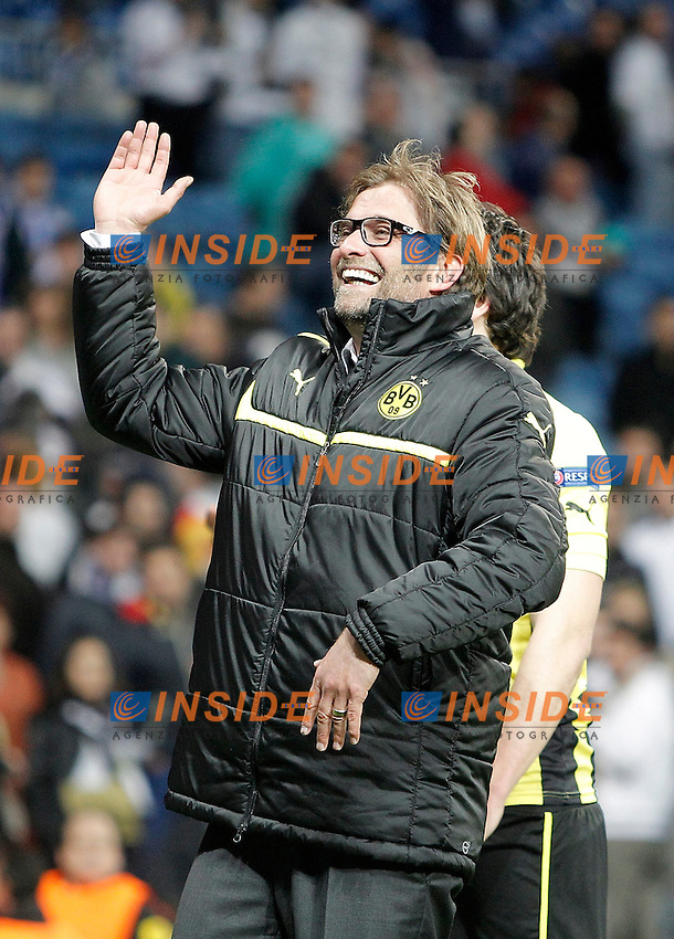 Borussia Dortmund's coach Jürgen Klopp celebrates after UEFA Champions League match. April 30, 2013. (ALTERPHOTOS/Alvaro Hernandez) .Madrid 30/4/2013 Santiago Bernabeu .Football 2012/2013 Champions League Semifinale .Real Madrid Vs Borussia Dortmund .Foto Insidefoto.ITALY ONLY