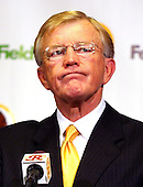 Joe Gibbs meets press after being named head coach of the Washington Redskins at Redskin Park in Ashburn, Virginia on January 8, 2004.  Gibbs previously worked as  the head coach of the Redskins from 1981 through 1992.