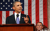 United States President Barack Obama addresses a joint session of the United States Congress on the subject of job creation on Capitol Hill in Washington, September 8, 2011.  Speaker of the United States House of Representatives John Boehner (Republican of Ohio) looks on from lower right..Credit: Kevin Lamarque / Pool via CNP..