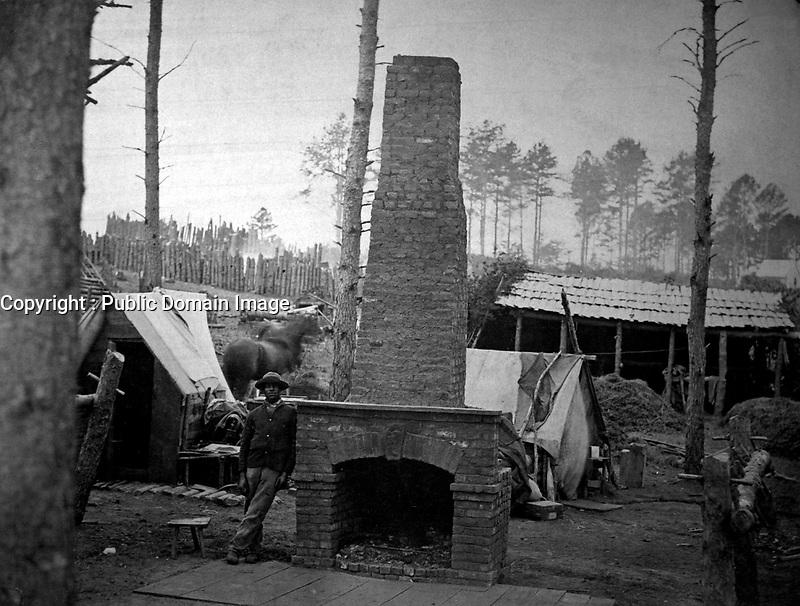 Breaking Camp.  Brandy Station, VA, May 1864.  James Gardner.  (War Dept.)<br /> Exact Date Shot Unknown<br /> NARA FILE #:  165-SB-63<br /> WAR & CONFLICT BOOK #:  179