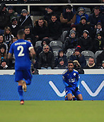 9th December 2017, St James Park, Newcastle upon Tyne, England; EPL Premier League football, Newcastle United versus Leicester City; Demarai Gray of Leicester City celebrates making it 1-2 in the  60th minute