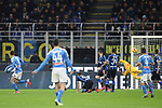 Fabian Ruiz of Napoli looks n as his strike flies past Daniele Padelli of Inter to give the side a 1-0 lead during the Coppa Italia match at Giuseppe Meazza, Milan. Picture date: 12th February 2020. Picture credit should read: Jonathan Moscrop/Sportimage