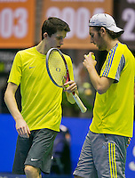 18-12-13,Netherlands, Rotterdam,  Topsportcentrum, Tennis Masters, Sidney de Boer and Daan Maasland (L)     <br /> Photo: Henk Koster