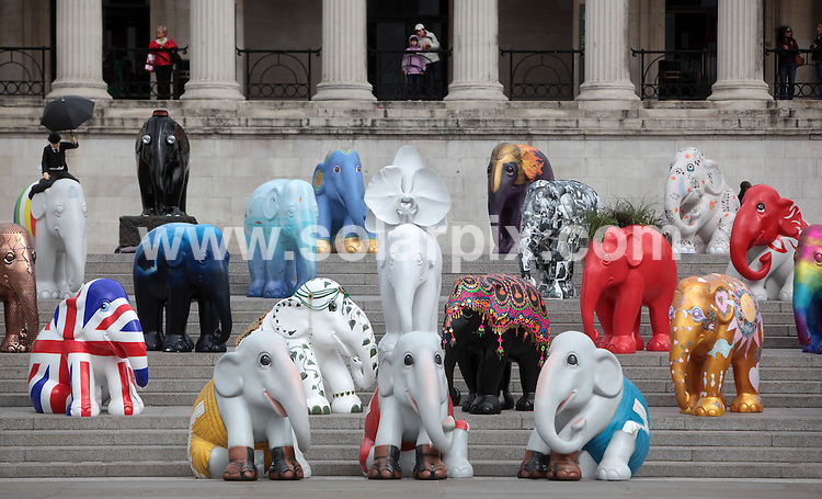 **ALL ROUND PICTURES FROM SOLARPIX.COM**.**NO UK NEWSPAPER PUBLICATION**.**UK MAGAZINE & SUPPLEMENT PUBLICATION ONLY** AND NO PUBLICATION IN AUSTRALIA, BELGIUM, FRANCE, GERMANY, ITALY, SCANDINAVIA AND USA** .The Elephant Parade London press launch in Trafalgar Square, London. 250 brightly painted life-size models of baby elephants are to be installed across the city of London throughout May and June  to promote a public awareness campaign for the endangered Asian elephant. London, UK. 4 May 2010..This pic: Elephant Parade London..JOB REF: 11205 SFE       DATE: 04_05_2010.**MUST CREDIT SOLARPIX.COM OR DOUBLE FEE WILL BE CHARGED**.**MUST NOTIFY SOLARPIX OF ONLINE USAGE**.**CALL US ON: +34 952 811 768 or LOW RATE FROM UK 0844 617 7637**