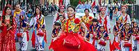 Beautiful Asian Drummer Girl, Chinatown Seafair Parade 2015, Seattle, Washington State, WA, America, USA.