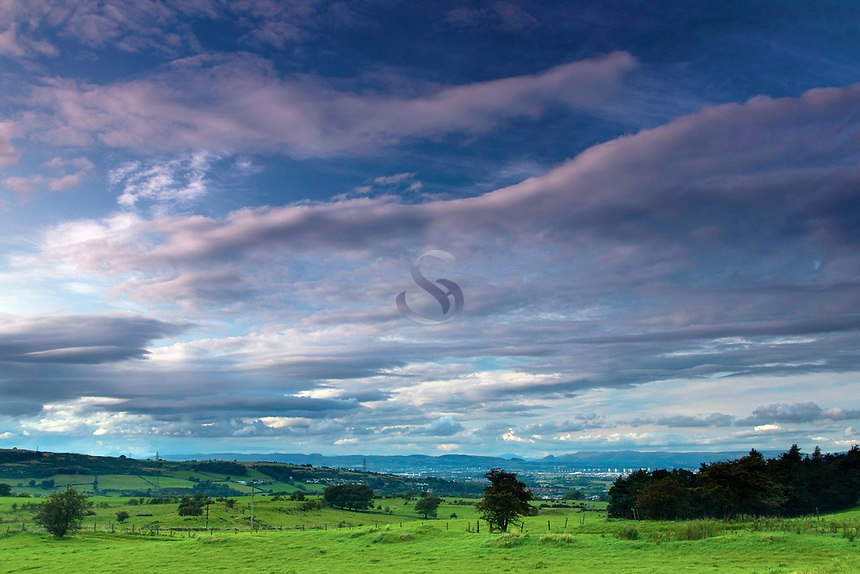 Glasgow and the Campsie Fells from Dyke, above Neilston, East Renfrewshire
