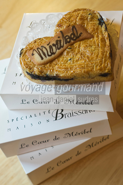 Europe/France/Rhone-Alpes/73/Savoie/Méribel: Cœur de Méribel (sablé fourré aux myrtilles) de la pâtisserie : Maison Braissand, les Glaciers à Méribel Centre