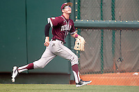 Texas A&M Aggies outfielder Tyler Naquin #18 on defense during the NCAA baseball game against the Texas Longhorns on April 28, 2012 at UFCU Disch-Falk Field in Austin, Texas. The Aggies beat the Longhorns 12-4. (Andrew Woolley / Four Seam Images)..