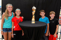 Chicago, IL - Saturday July 30, 2016: Fans, Women's World Cup Trophy prior to a regular season National Women's Soccer League (NWSL) match between the Chicago Red Stars and FC Kansas City at Toyota Park.