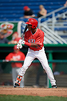 Batavia Muckdogs shortstop Ronal Reynoso (26) at bat during a game against the Auburn Doubledays on September 2, 2018 at Dwyer Stadium in Batavia, New York.  Batavia defeated Auburn 5-4.  (Mike Janes/Four Seam Images)