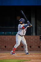 Jacksonville Jumbo Shrimp John Silviano (22) at bat during a Southern League game against the Mobile BayBears on May 7, 2019 at Hank Aaron Stadium in Mobile, Alabama.  Mobile defeated Jacksonville 2-0.  (Mike Janes/Four Seam Images)