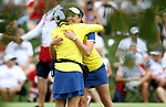 DES MOINES, IA - AUGUST 19: Europe's Georgia Hall gets a hug from captain Anna Sorenstam after winning their match, Saturday at the 2017 Solheim Cup in Des Moines, IA. (Photo by Dave Eggen/Inertia)