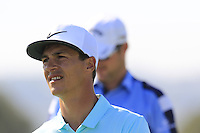 Thorbjorn Olesen (DEN) sinks his putt on the 9th green during Thursday's Round 1 of the 2016 Portugal Masters held at the Oceanico Victoria Golf Course, Vilamoura, Algarve, Portugal. 19th October 2016.<br /> Picture: Eoin Clarke | Golffile<br /> <br /> <br /> All photos usage must carry mandatory copyright credit (&copy; Golffile | Eoin Clarke)