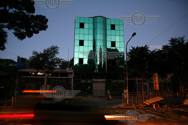 A modern building with glass facade, typical of so many newly erected buildings in the center of kabul