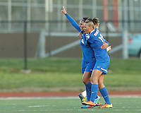 Boston Breakers forward Sydney Leroux (2) and Boston Breakers forward Lianne Sanderson (10) celebrate Sydney Leroux's goal. In a National Women's Soccer League Elite (NWSL) match, the Boston Breakers (blue) defeated Chicago Red Stars (white), 4-1, at Dilboy Stadium on May 4, 2013.