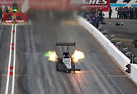 Feb 21, 2020; Chandler, Arizona, USA; NHRA top fuel driver Scott Palmer during qualifying for the Arizona Nationals at Wild Horse Pass Motorsports Park. Mandatory Credit: Mark J. Rebilas-USA TODAY Sports