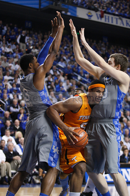 Terrence Jones and Kyle Wiltjer play defense against Tennessee at Rupp Arena on Tuesday, Jan. 31, 2012. Photo by Scott Hannigan | Staff