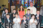 Pupils from Anabala NS who received their  First Holy Communion in Our Lady of Lourdes church, Kilcummin on Saturday front row l-r: Cathal Brosnan, Aileen Keane, Shane McGlynn, Aishlinn Adair-Byrne. Back row: Mark Fitsgerald, Danny Crowley, Kyle O'Connor-Coffey, Luke Ryan and Pamela O'Riordan Teacher..