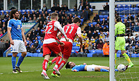 Fleetwood Town's Bobby Grant celebrates after scoring the opening goal <br /> <br /> Photographer David Shipman/CameraSport<br /> <br /> The EFL Sky Bet League One - Peterborough United v Fleetwood Town - Friday 14th April 2016 - ABAX Stadium  - Peterborough<br /> <br /> World Copyright &copy; 2017 CameraSport. All rights reserved. 43 Linden Ave. Countesthorpe. Leicester. England. LE8 5PG - Tel: +44 (0) 116 277 4147 - admin@camerasport.com - www.camerasport.com