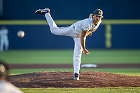 Michigan Wolverines pitcher Karl Kauffmann (37) follows through on his delivery against the Rutgers Scarlet Knights on April 26, 2019 in the NCAA baseball game at Ray Fisher Stadium in Ann Arbor, Michigan. Michigan defeated Rutgers 8-3. (Andrew Woolley/Four Seam Images)
