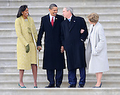 Washington, DC - January 20, 2009 -- (L-R) Michelle Obama, President Barack Obama, Former President George W. Bush and Laura Bush share a laugh as they wait to wave goodbye as former Vice President Dick Cheney departs on the East Front of the US Capitol Building after Barack Obama was sworn in as the 44th President of the United States in Washington, DC, USA 20 January 2009.  Obama defeated Republican candidate John McCain on Election Day 04 November 2008 to become the next U.S. President..Credit: Tannen Maury - Pool via CNP