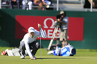 Matthew Fitzpatrick (ENG) on the 18th green during Saturday's Round 3 of the 2018 Omega European Masters, held at the Golf Club Crans-Sur-Sierre, Crans Montana, Switzerland. 8th September 2018.<br /> Picture: Eoin Clarke | Golffile<br /> <br /> <br /> All photos usage must carry mandatory copyright credit (&copy; Golffile | Eoin Clarke)