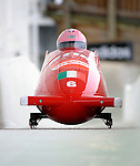 15 December 2007: Italy 1 pilot Jessica Gillarduzzi, with Fabiana Mollica on the brakes, head down the straightaway towards Turn 16 during their second run of the FIBT World Cup Bobsled Competition at the Olympic Sports Complex on Mount Van Hoevenberg, at Lake Placid, New York, USA. ..Mandatory Photo Credit: Ed Wolfstein Photo