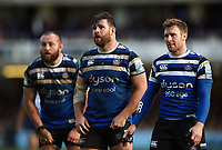 Will Chudley, Nathan Catt and Will Chudley of Bath Rugby looks on during a break in play. Gallagher Premiership match, between Bath Rugby and Harlequins on March 2, 2019 at the Recreation Ground in Bath, England. Photo by: Patrick Khachfe / Onside Images