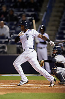 Tampa Yankees right fielder Jhalan Jackson (38) follows through on a swing during a game against the Lakeland Flying Tigers on April 7, 2017 at George M. Steinbrenner Field in Tampa, Florida.  Lakeland defeated Tampa 5-0.  (Mike Janes/Four Seam Images)