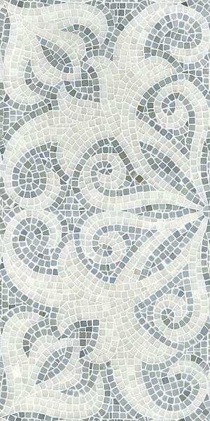 Arabella shown in tumbled Bardiglio and Paperwhite is part of New Ravenna's Studio Line. All mosaics in this collection are ready to ship within 48 hours.<br />