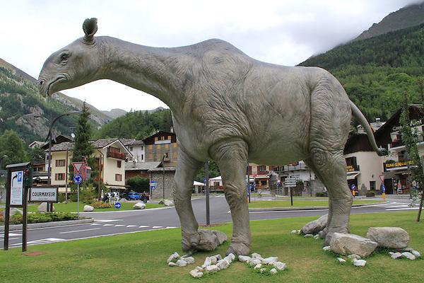 Dinosaur sculpture at Courmayeur, Italy.